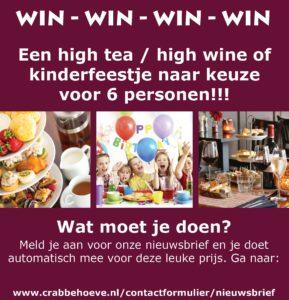 Iets Nieuws Win actie! High tea, high wine of kinderfeestje! · Crabbehoeve @IR07